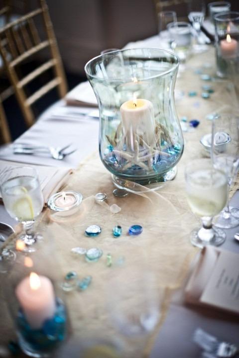 centrotavola con tocchi di luce tiffany - matrimonio tema mare
