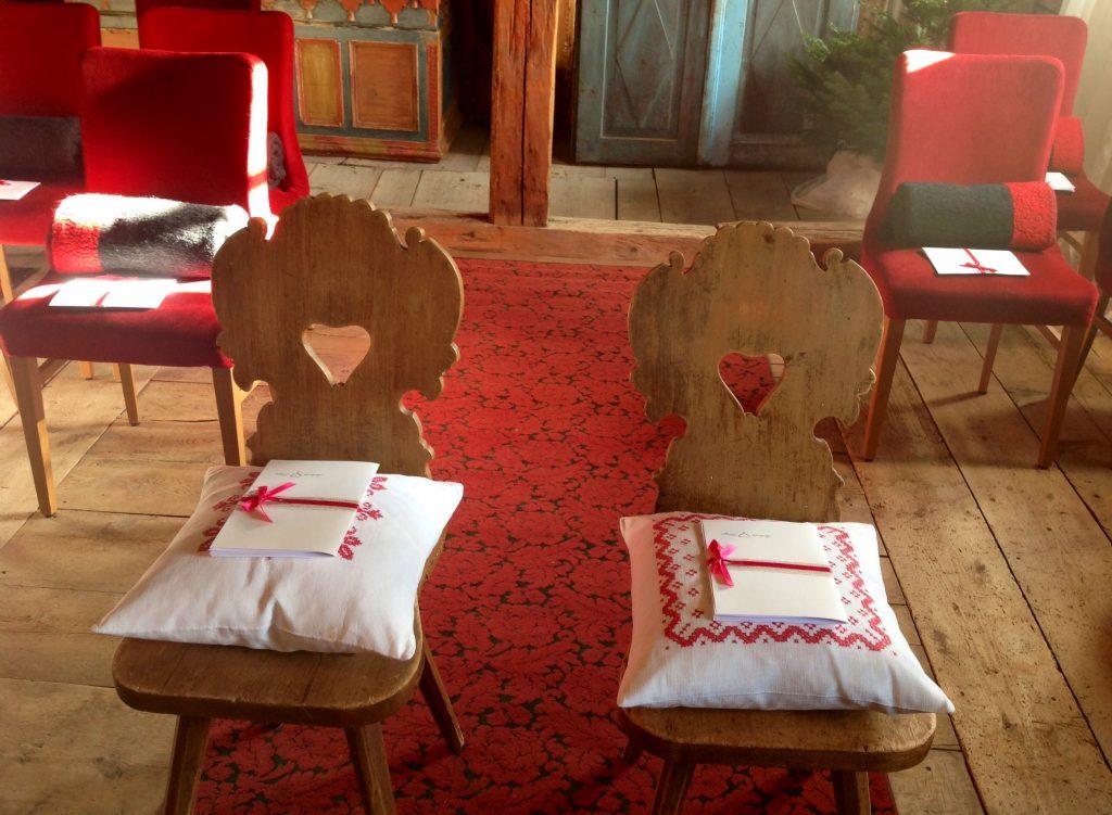 Dettaglio allestimento sala cerimonia umanista
