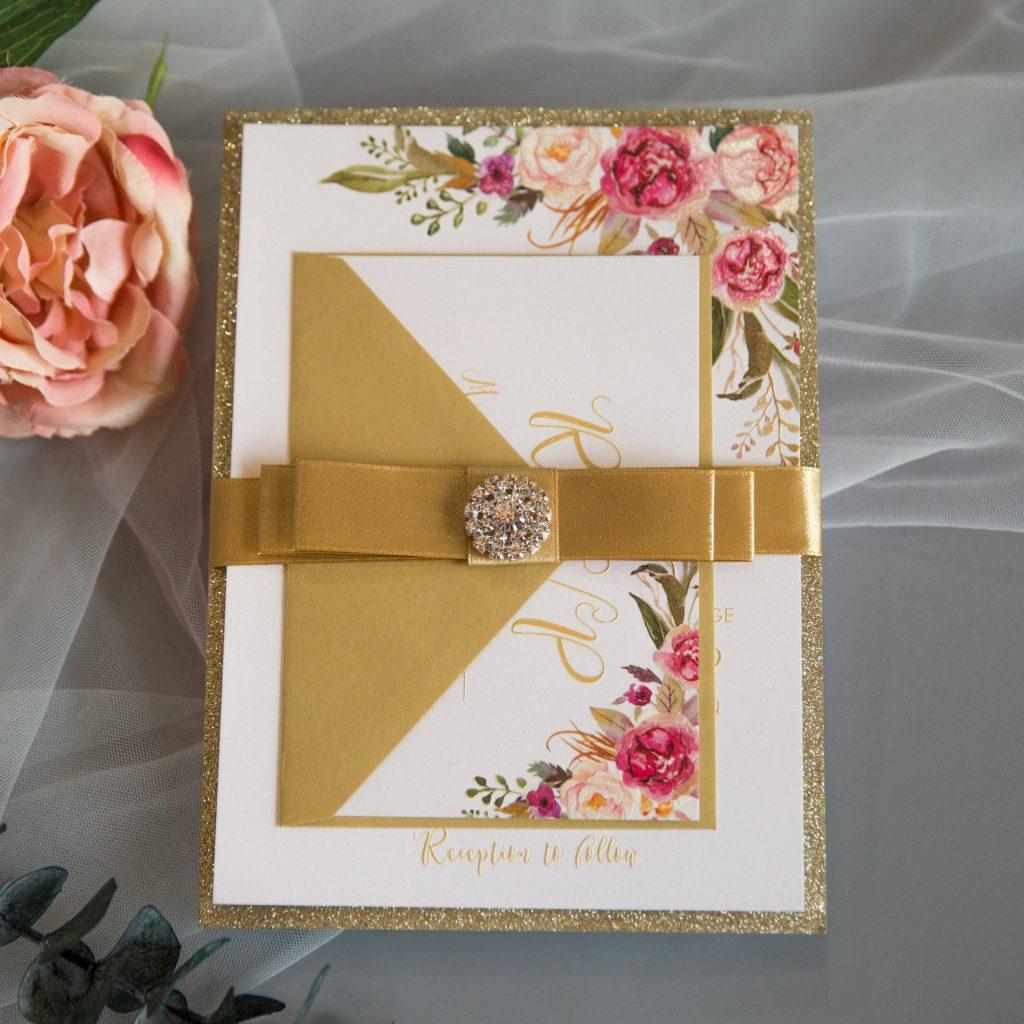 partecipazione matrimonio con colore oro