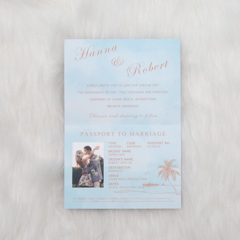 partecipazione matrimonio tema viaggio passaporto