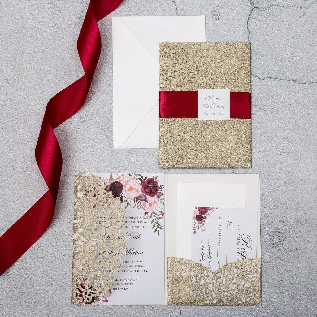 partecipazioni Rosso e gold i due colori principali - fantasia floreale con base rosso