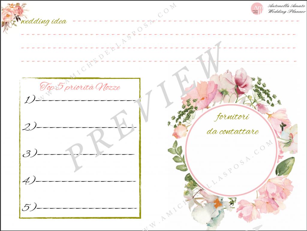 Weekly Wedding Planner - priorità nozze