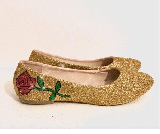 ballerine color oro la bella e la bestia