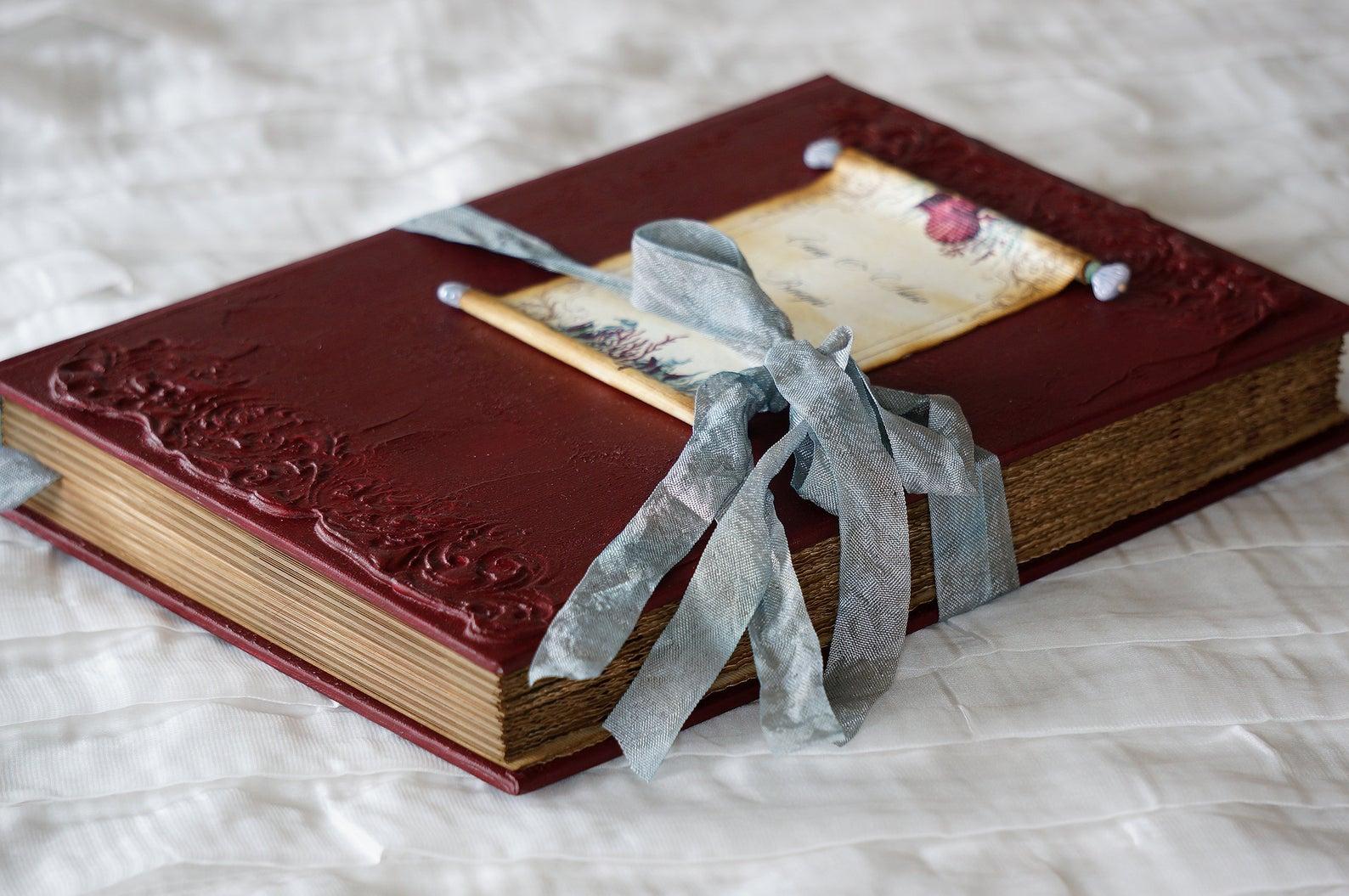libro degli ospiti dusty blu e borgogna