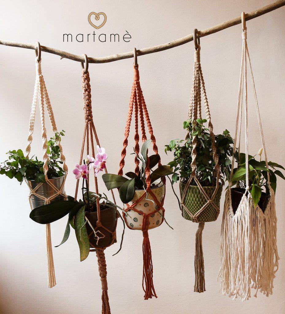 Porta piante in Macramè fatto a mano.